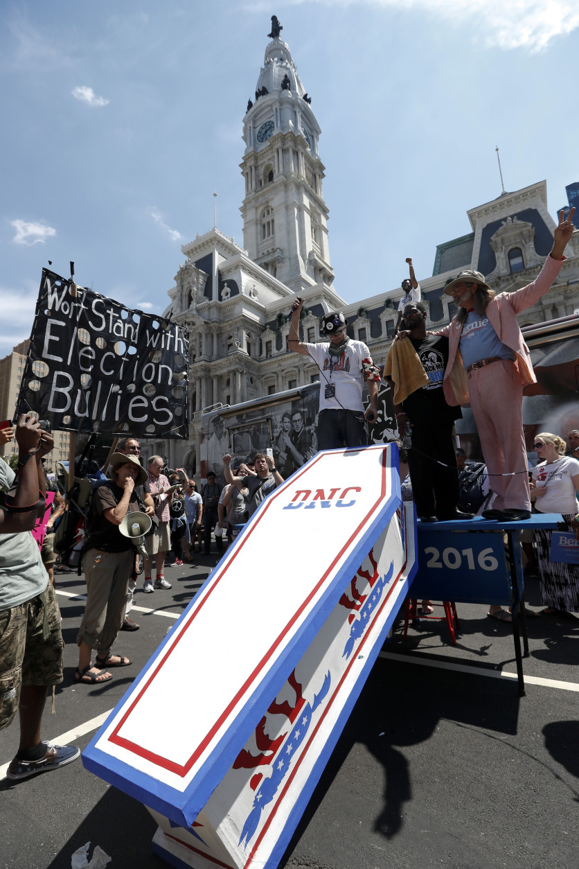 Protesters demonstrate in front of City Hall on Sunday, July 24, 2016, in Philadelphia. The Democratic National Convention starts Monday in Philadelphia. (AP Photo/Alex Brandon)