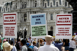 Supporters of Sen. Bernie Sanders, I-Vt., listen during a rally near City Hall in Philadelphia, Tuesday, July 26, 2016, during the second day of the Democratic National Convention. (AP Photo/Alex Brandon)