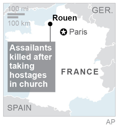 Hostages taken in Rouen church in Normandy, France