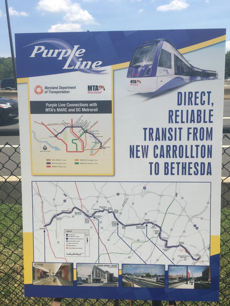 Gov. Hogan said public transportation will also play a key role, since the state now has a full funding agreement from the federal government for the $2.4 billion Purple Line light rail project which will run between New Carrolton and Bethesda. (WTOP/Mike Murillo)