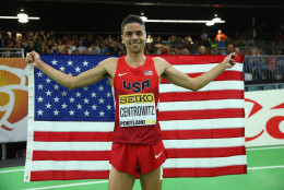 PORTLAND, OR - MARCH 20:  Matthew Centrowitz of the United States wins gold in the Men's 1500 Metres Final during day four of the IAAF World Indoor Championships at Oregon Convention Center on March 20, 2016 in Portland, Oregon.  (Photo by Ian Walton/Getty Images for IAAF)