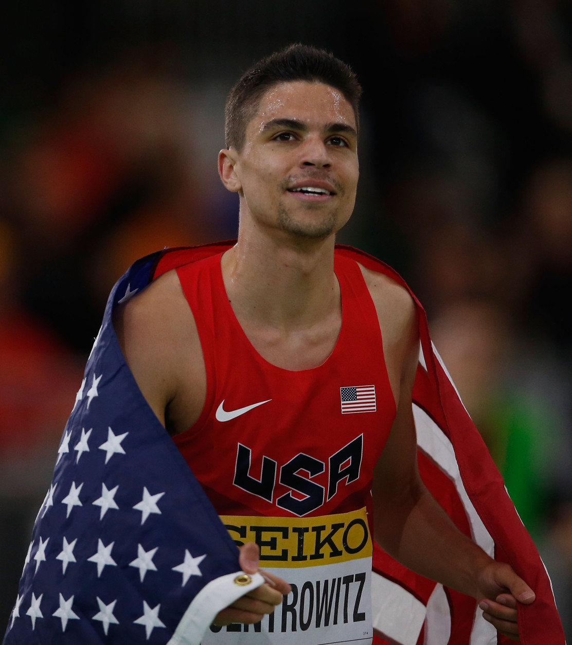 PORTLAND, OR - MARCH 20:  Matthew Centrowitz of the United States wins gold in the Men's 1500 Metres Final during day four of the IAAF World Indoor Championships at Oregon Convention Center on March 20, 2016 in Portland, Oregon.  (Photo by Christian Petersen/Getty Images for IAAF)