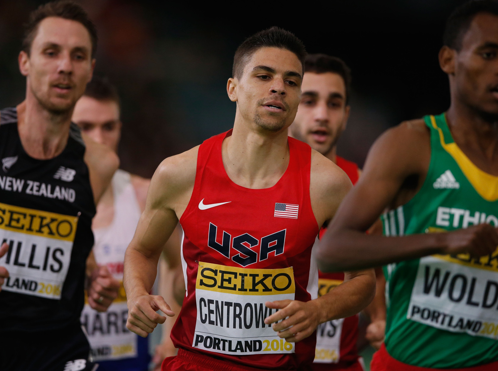 PORTLAND, OR - MARCH 20:  Matthew Centrowitz of the United States competes in the Men's 1500 Metres Final during day four of the IAAF World Indoor Championships at Oregon Convention Center on March 20, 2016 in Portland, Oregon.  (Photo by Christian Petersen/Getty Images for IAAF)