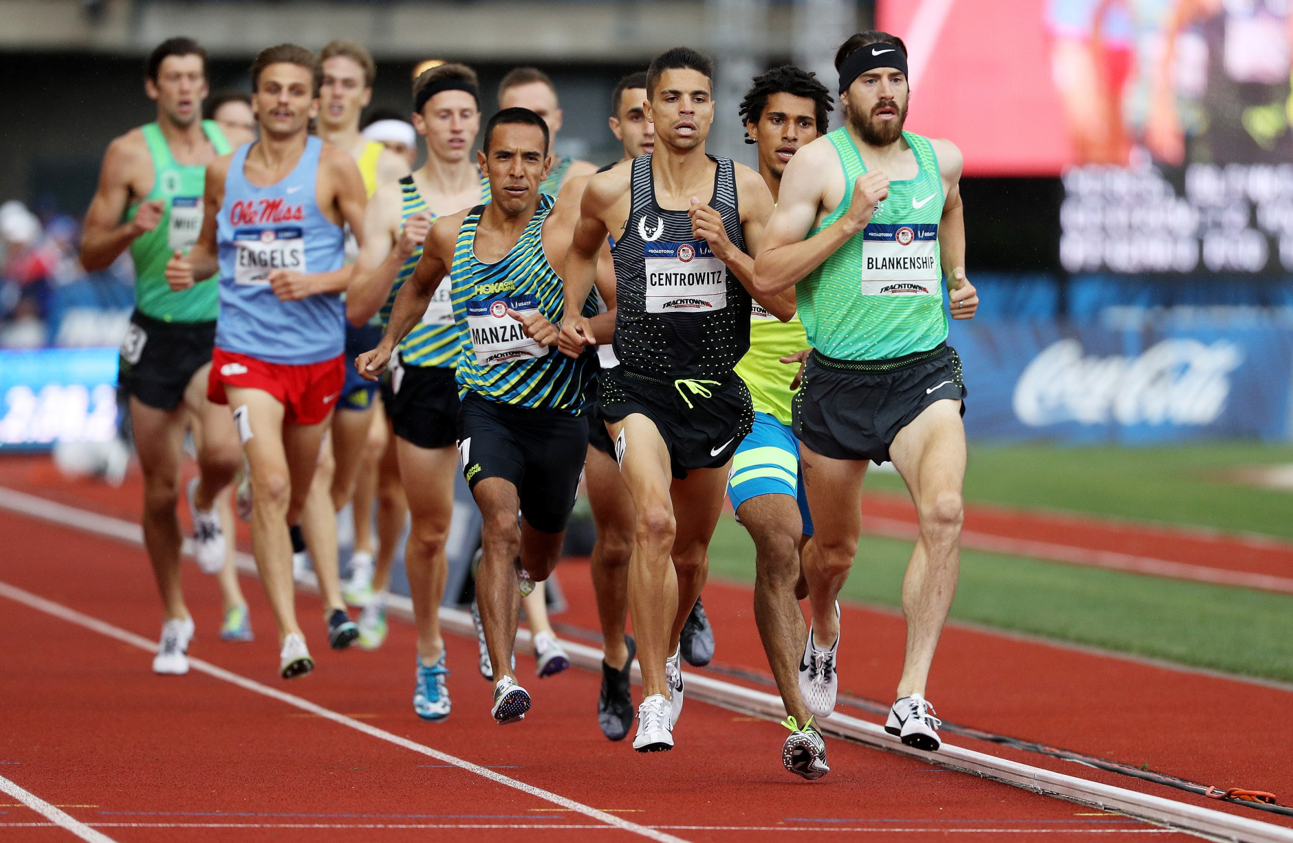 EUGENE, OR - JULY 10:  Matthew Centrowitz and 	Ben Blankenship compete in the Men's 1500 Meter Final during the 2016 U.S. Olympic Track & Field Team Trials at Hayward Field on July 10, 2016 in Eugene, Oregon.  (Photo by Patrick Smith/Getty Images)