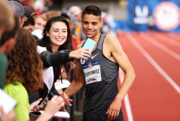 EUGENE, OR - JULY 10:  Matthew Centrowitz celebrates after placing first in the Men's 1500 Meter Final during the 2016 U.S. Olympic Track & Field Team Trials at Hayward Field on July 10, 2016 in Eugene, Oregon.  (Photo by Andy Lyons/Getty Images)