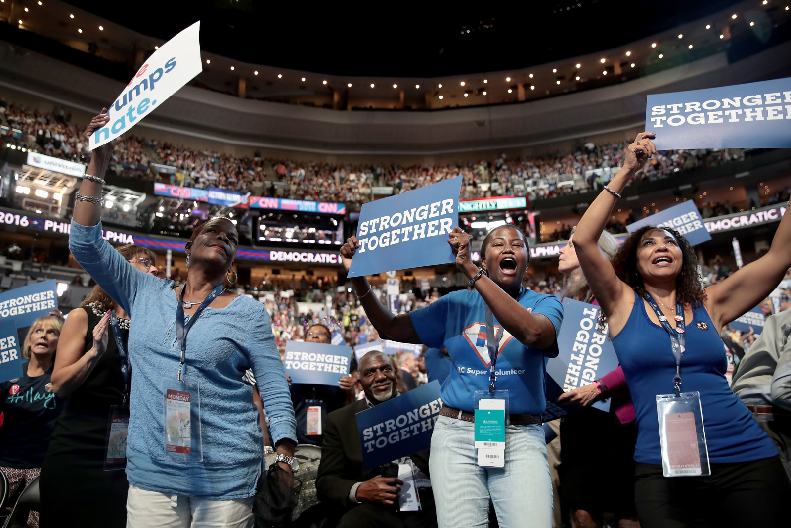 PHILADELPHIA, PA - JULY 25:  Delegates cheer on the first day of the Democratic National Convention at the Wells Fargo Center, July 25, 2016 in Philadelphia, Pennsylvania. An estimated 50,000 people are expected in Philadelphia, including hundreds of protesters and members of the media. The four-day Democratic National Convention kicked off July 25.  (Photo by Drew Angerer/Getty Images)