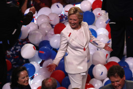 PHILADELPHIA, PA - JULY 28:  Democratic presidential candidate Hillary Clinton acknowledges the crowd at the end on the fourth day of the Democratic National Convention at the Wells Fargo Center, July 28, 2016 in Philadelphia, Pennsylvania. Democratic presidential candidate Hillary Clinton received the number of votes needed to secure the party's nomination. An estimated 50,000 people are expected in Philadelphia, including hundreds of protesters and members of the media. The four-day Democratic National Convention kicked off July 25.  (Photo by Win McNamee/Getty Images)