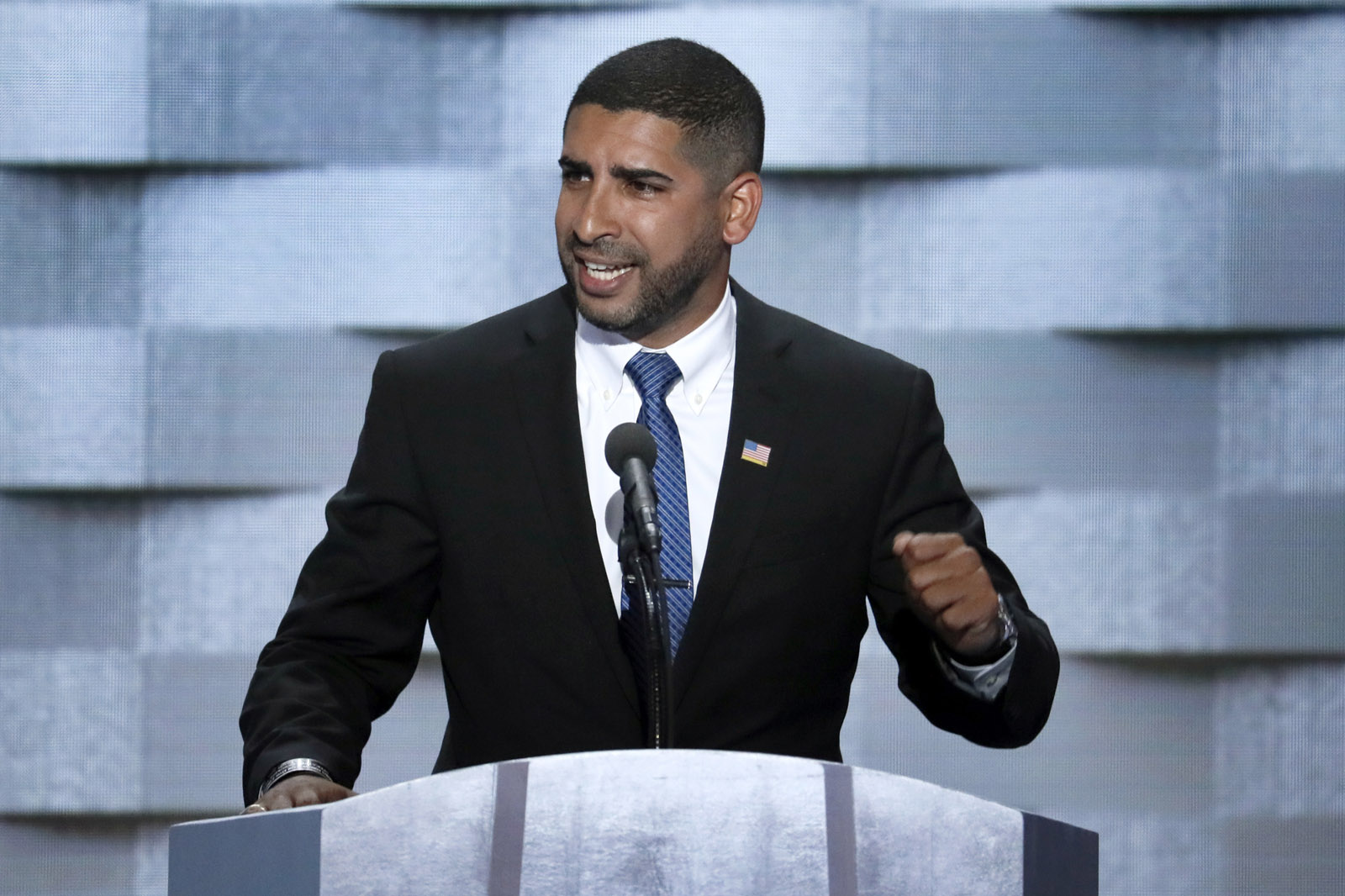 Medal of Honor recipient U.S. Army Capt. Florent Groberg, (Ret.) speaks during the final day of the Democratic National Convention in Philadelphia , Thursday, July 28, 2016. (AP Photo/J. Scott Applewhite)