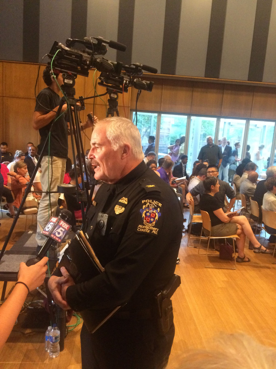 """""""I'm not saying there aren't bad police officers who've done some very bad things in this country. All I'm asking is that we not paint every single police officer in this country with that same broad brush,"""" Police Chief Tom Manger said. (WTOP/Dick Uliano)"""