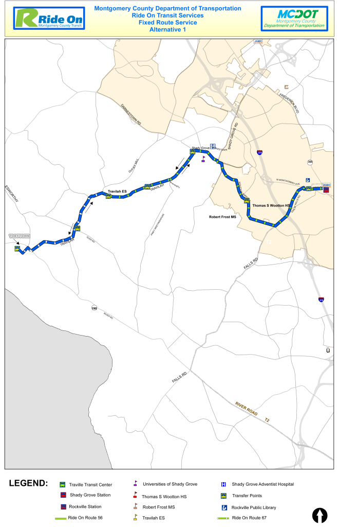 This new proposal for a Ride On bus route serving Tobytown, a historic neighborhood in Potomac, Md., was drawn up to address concern from residents. They say it's dangerous to have to wait along busy River Road. Unlike the original proposal, this route does not include a loop on River Road. (Courtesy Montgomery County Department of Transportation)