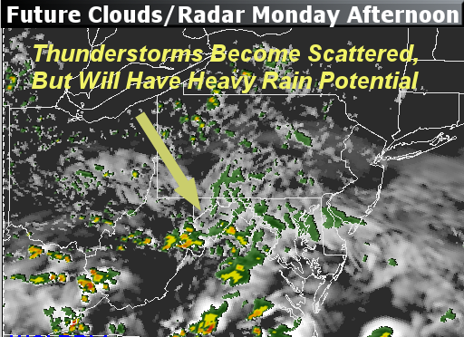 This graphic is a simulation from the RPM computer model for Monday afternoon. At the time the model was run on Sunday, it showed the potential for the steady thunderstorms from the morning to taper to scattered storms, meaning it won't be raining everywhere all the time, but all will have the threat. Rain plans will be needed for outdoor activities. (Courtesy The Weather Company)
