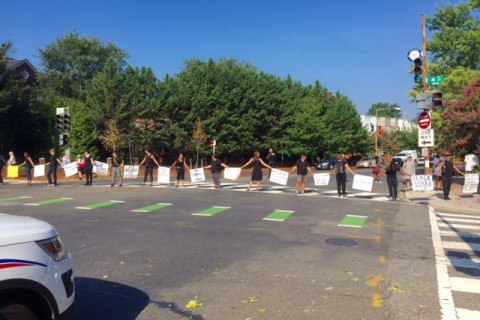 Protest snarls intersection in NE DC
