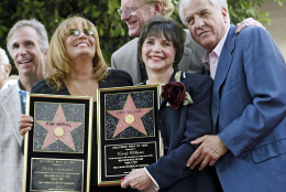"FILE - In this Aug. 12, 2004 file photo, actors from left, Henry Winkler, Penny Marshall, Ed Begley, Cindy Williams and Garry Marshall pose after Penny Marshall and Cindy Williams received their stars on the Hollywood Walk of Fame, in the Hollywood section of Los Angeles. Penny Marshall and Williams starred together in the TV show ""Laverne and Shirley."" Writer-director Marshall, whose TV hits included ""Happy Days"" ""Laverne & Shirley"" and box-office successes included ""Pretty Woman"" and ""Runaway Bride,"" has died at age 81. Publicist Michelle Bega says Marshall died Tuesday, July 19, 2016, in at a hospital in Burbank, Calif., of complications from pneumonia after having a stroke. (AP Photo/Damian Dovarganes, File)"