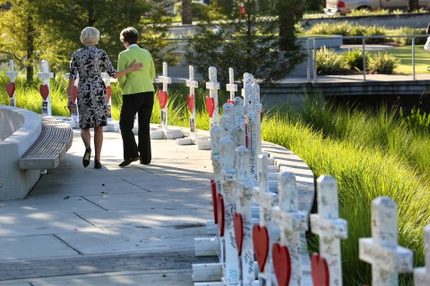 49 white crosses for Orlando victims moved from hospital to museum