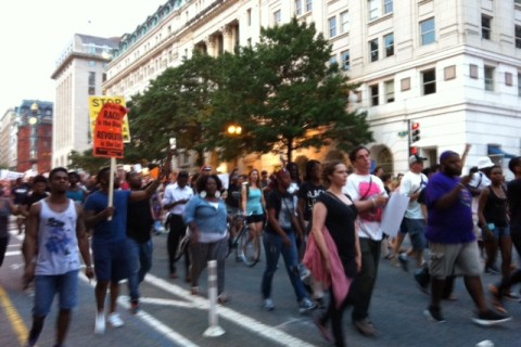 Local residents march from White House to Capitol to protest police shootings