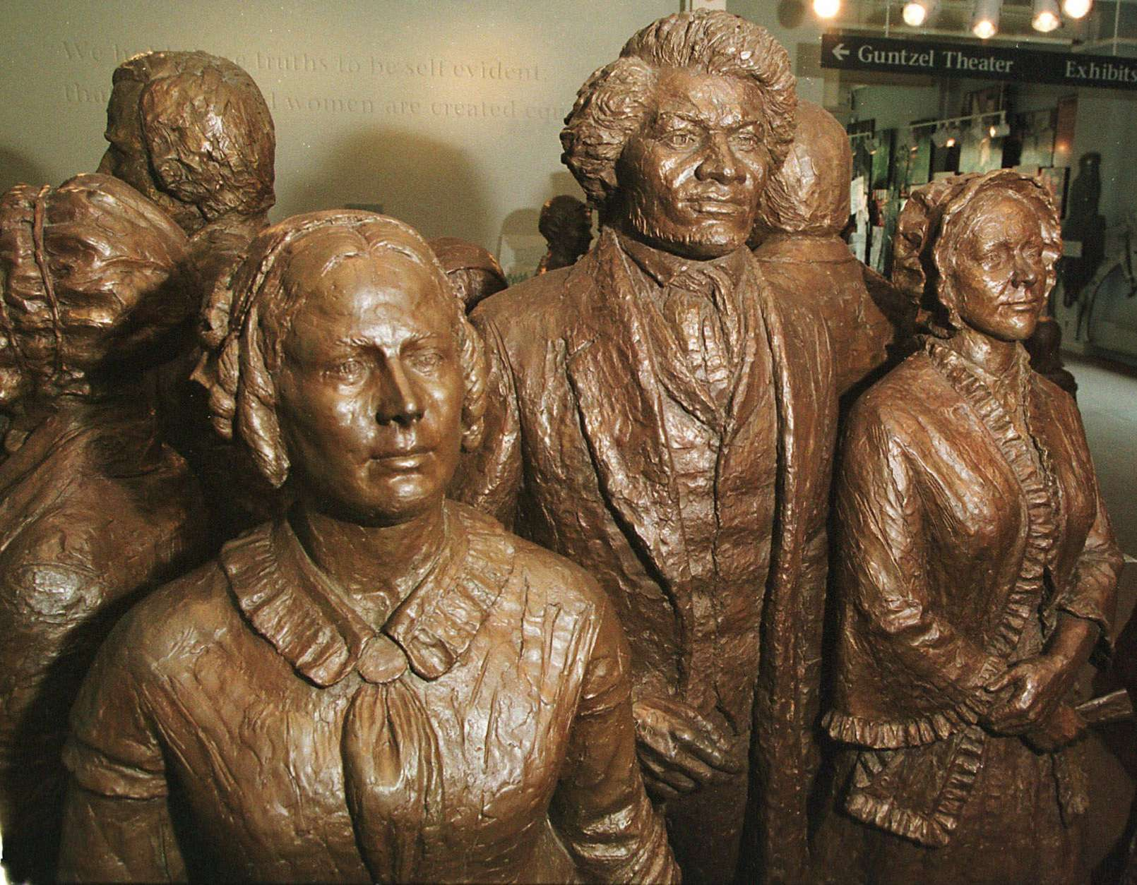ADVANCE FOR AUG. 12-13-Near life size bronze statues at the National Women's Rights Park in Seneca Falls, N.Y. on July 25, 2000. They represent attendees of the first women's rights convention held at the nearby Weslyan Chape.   Located along U.S. 20, this highway traverses nearly the same countryside is did 201-years ago when it was originally chartered as the First Great Western Turnpike.  (AP Photo/Michael Okoniewski)