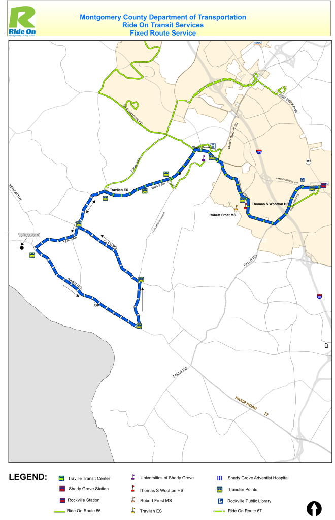 This is the original Ride On bus route that was proposed for Tobytown, a historic neighborhood in Potomac, Md.  Residents have said they wanted a bus route that did not require having to stand and wait along the busy River Road. This route includes a loop along River Road. (Courtesy Montgomery County Department of Transportation)