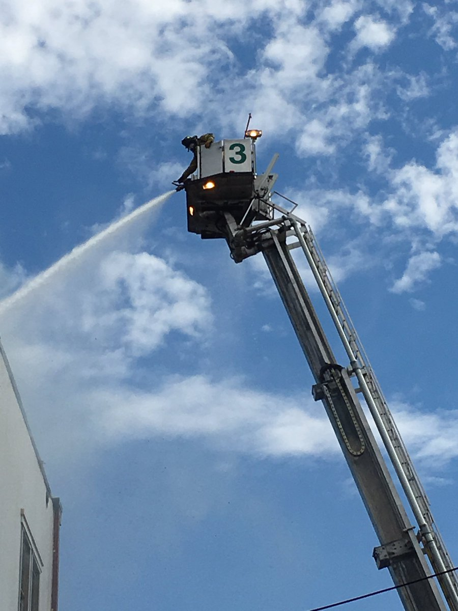 Fire crews used a tower ladder to fight the flames and knocked it down by about 4:40 p.m. (Courtesy D.C. Fire and EMS)