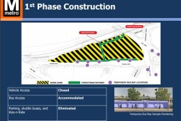 The first phase of construction planned for King Street Metro station. During this phase, parking, shuttle buses and the kiss and ride area will be eliminated. (WMATA)