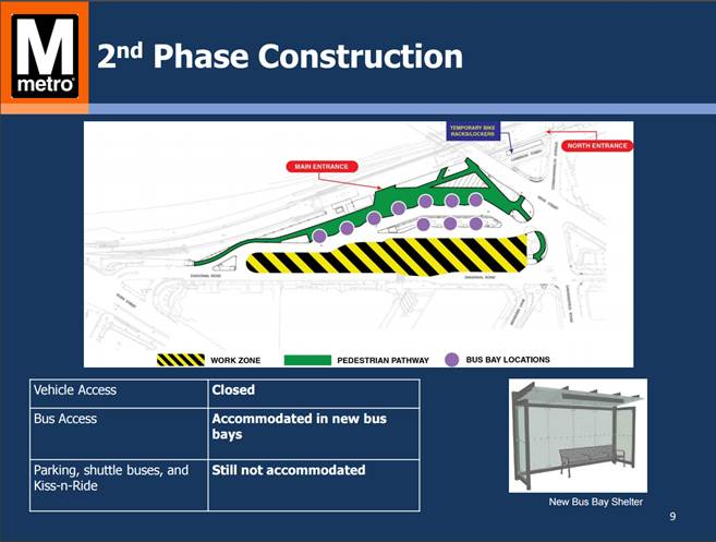The second phase of construction for the King Street Metro station. In phase two, parking, shuttle buses and kiss and rides still will not be accommodated, but new bus bays will be open. (WMATA)