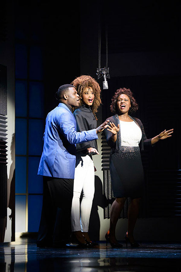 """Caption provided: (L to R) Juan Winans as BeBe, Kiandra Richardson as Whitney Houston and Deborah Joy Winans as CeCe in """"Born for This: The BeBe Winans Story,"""" which runs July 1-Aug. 28, 2016 at Arena Stage at the Mead Center for American Theater. (Photo by Greg Mooney; Courtesy Alliance Theatre.)"""