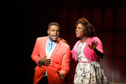 """Caption provided: (L to R) Juan Winans as BeBe and Deborah Joy Winans as CeCe in """"Born for This: The BeBe Winans Story,"""" which runs July 1-Aug. 28, 2016 at Arena Stage at the Mead Center for American Theater. (Photo by Greg Mooney; Courtesy Alliance Theatre.)"""