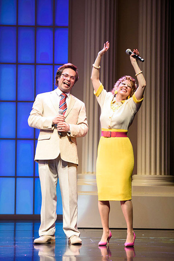 """Caption provided: (L to R) Chaz Pofahl as Jim Bakker and Kirsten Wyatt as Tammy Faye Bakker in """"Born for This: The BeBe Winans Story,"""" which runs July 1-Aug. 28, 2016 at Arena Stage at the Mead Center for American Theater. (Photo by Greg Mooney; Courtesy Alliance Theatre.)"""