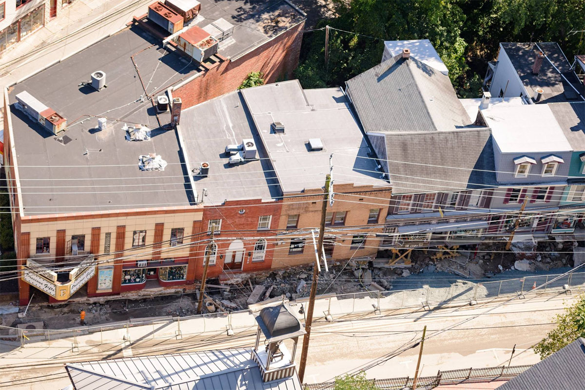 An aerial view of the damage on Main Street. (Howard County photo)