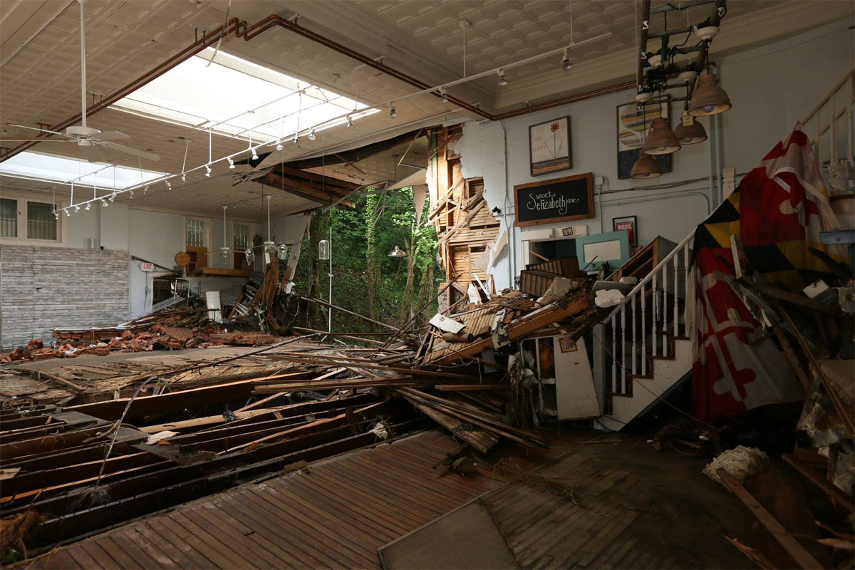 A view from inside one of the damaged buildings on Main Street. (Howard County photo)