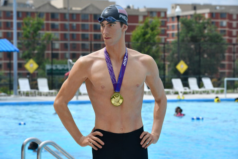 Wax Michael Phelps figure stops by DC pool