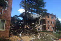 One of the Flower Branch apartment buildings in Silver Spring devastated by an explosion and fire. (Photo courtesy Peter Piringer/Montgomery County Fire & Rescue)