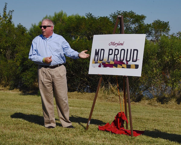Maryland Gov. Larry Hogan unveils the state's new license plate design. (Photo courtesy Maryland governor's office)