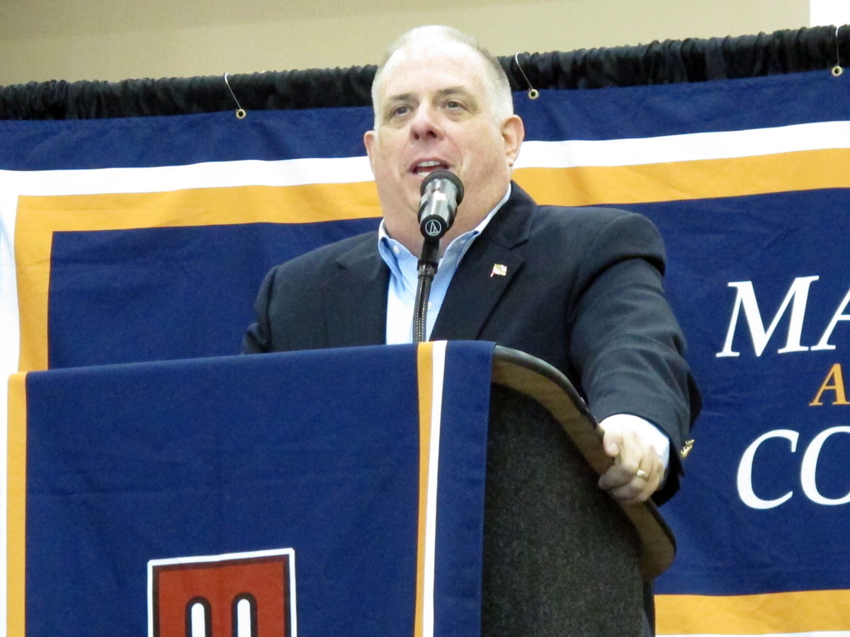 Maryland Gov. Larry Hogan speaks during his closing speech to the Maryland Association of Counties summer conference on Saturday, Aug. 20, 2016 in Ocean City, Md. Hogan is pushing schools to delay their start dates until after Labor Day. (AP Photo/Brian Witte)