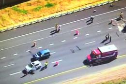 A view of the crash that has closed westbound Interstate 66 near Haymarket. (Brad Freitas/@NewsChopperBrad)