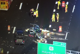 A view of the crash that has closed westbound Interstate 66 hear Haymarket. (Brad Freitas/@NewsChopperBrad)
