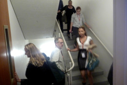 People use the stairs to evacuate a building in Washington, Wednesday, Aug. 24, 2011, after an earthquake hit the Washington area. The 5.9 magnitude earthquake centered northwest of Richmond, Va., shook much of Washington, D.C., and was felt as far north as Rhode Island and New York City.  (AP Photo/Charles Dharapak)