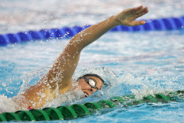 United States' Elizabeth Beisel swims during a training session ahead of the 2016 Summer Olympics in Rio de Janeiro, Brazil, Wednesday, Aug. 3, 2016. (AP Photo/Lee Jin-man)