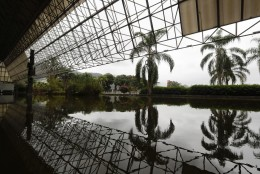 A reflecting pool is shown at Pavilion 5 ahead of the 2016 Summer Olympics in Rio de Janeiro, Brazil, Wednesday, Aug. 3, 2016. (AP Photo/Frank Franklin II)