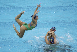 Brazil's synchronized swimming team take part in a training session at the Maria Lenk Aquatic Center ahead of the 2016 Summer Olympics in Rio de Janeiro, Brazil, Wednesday, Aug. 3, 2016. (AP Photo/Wong Maye-E)