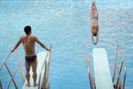 Members of China's diving team take part in a training session at the Maria Lenk Aquatic Center ahead of the 2016 Summer Olympics in Rio de Janeiro, Brazil, Wednesday, Aug. 3, 2016. (AP Photo/Wong Maye-E)