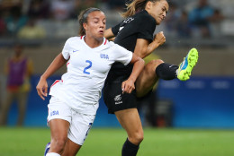 United States' Mallory Pugh, left, and New Zealand's Ali Riley vie for the ball during a Women's Olympic Football Tournament match at the Mineirao stadium in Belo Horizonte, Brazil, Wednesday, Aug. 3, 2016. (AP Photo/Eugenio Savio)