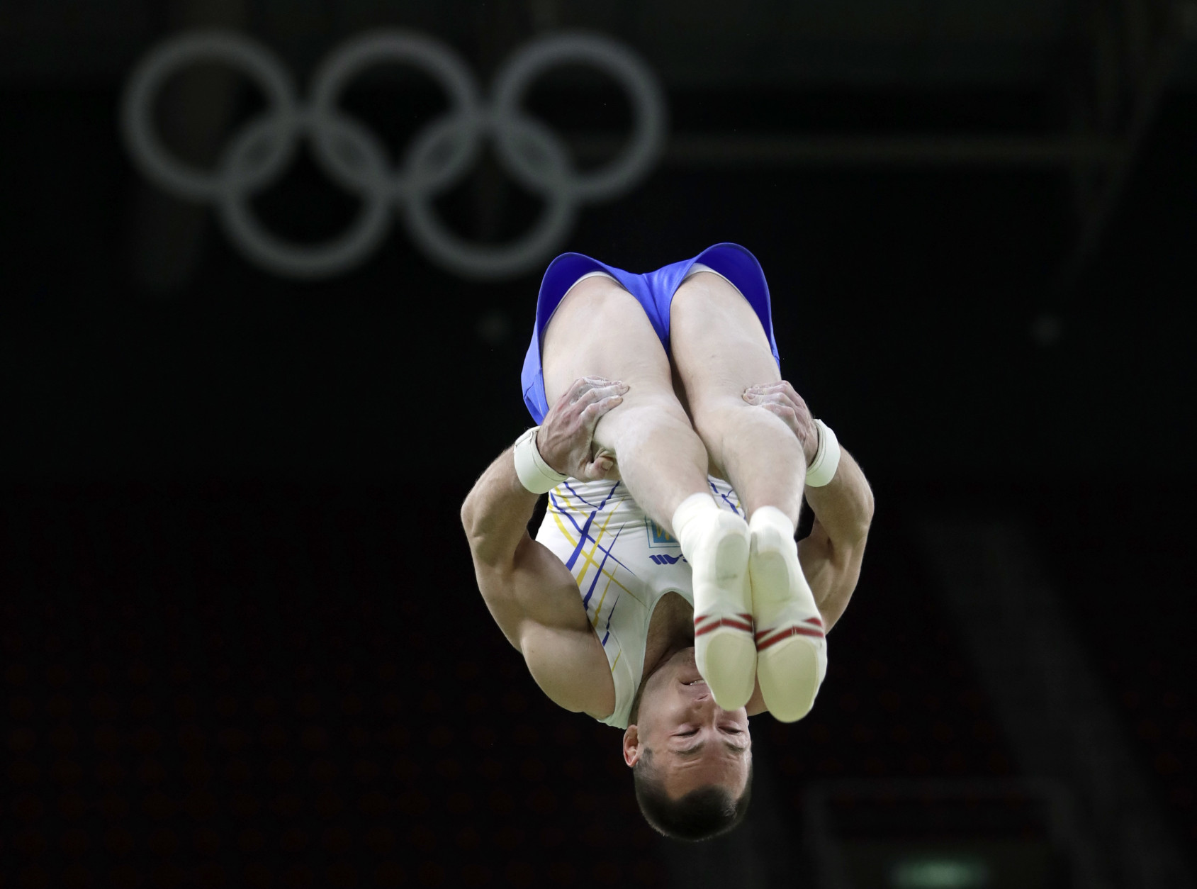 Ukraine's Igor Radivilov trains on the vault ahead of the 2016 Summer Olympics in Rio de Janeiro, Brazil, Wednesday, Aug. 3, 2016. (AP Photo/Dmitri Lovetsky)