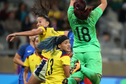 Colombia goalkeeper Sandra Sepulveda, right, grabs the ball during the Women's Olympic Football Tournament at the Mineirao stadium in Belo Horizonte, Brazil, Wednesday, Aug. 3, 2016. (AP Photo/Eugenio Savio)