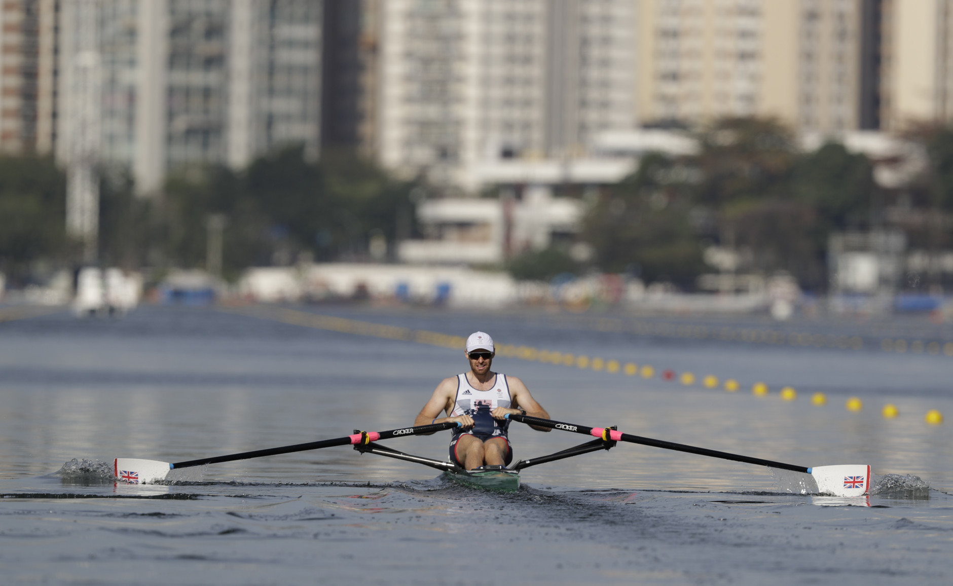 Gret Britain's Alan Campbell competes in the Men's Rowing single sculls in Lagoa during the 2016 Summer Olympics in Rio de Janeiro, Brazil, Saturday, Aug. 6, 2016. (Luca Bruno)