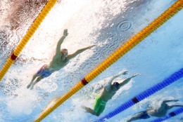 United States' Chase Kalisz, left, competes in a heat of the men's 400m individual medley during the swimming competitions at the 2016 Summer Olympics, Saturday, Aug. 6, 2016, in Rio de Janeiro, Brazil. (AP Photo/David J. Phillip)