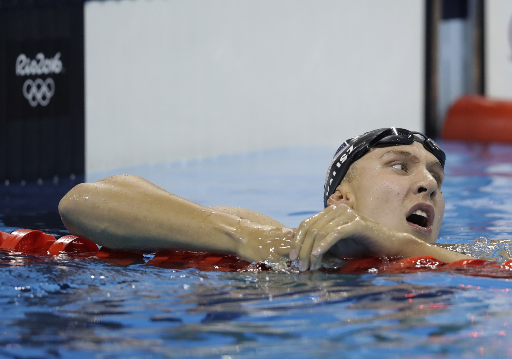 United States' silver medal winner Chase Kalisz catches his breath after the men's 400-meter individual medley final during the swimming competitions at the 2016 Summer Olympics, Saturday, Aug. 6, 2016, in Rio de Janeiro, Brazil. (AP Photo/Michael Sohn)