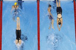 Australia's Cate Campbell starts her final leg of the 4 x 100m freestyle championship final swimming competition ahead of USA's Katie Ledecky at the 2016 Summer Olympics, Saturday, Aug. 6, 2016, in Rio de Janeiro, Brazil. (AP Photo/Morry Gash)
