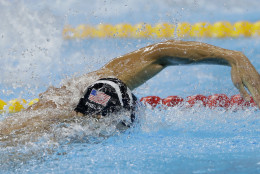 United States' Michael Phelps competes in the final of the men's 4x100-meter freestyle relay during the swimming competitions at the 2016 Summer Olympics, Sunday, Aug. 7, 2016, in Rio de Janeiro, Brazil. (AP Photo/Matt Slocum)