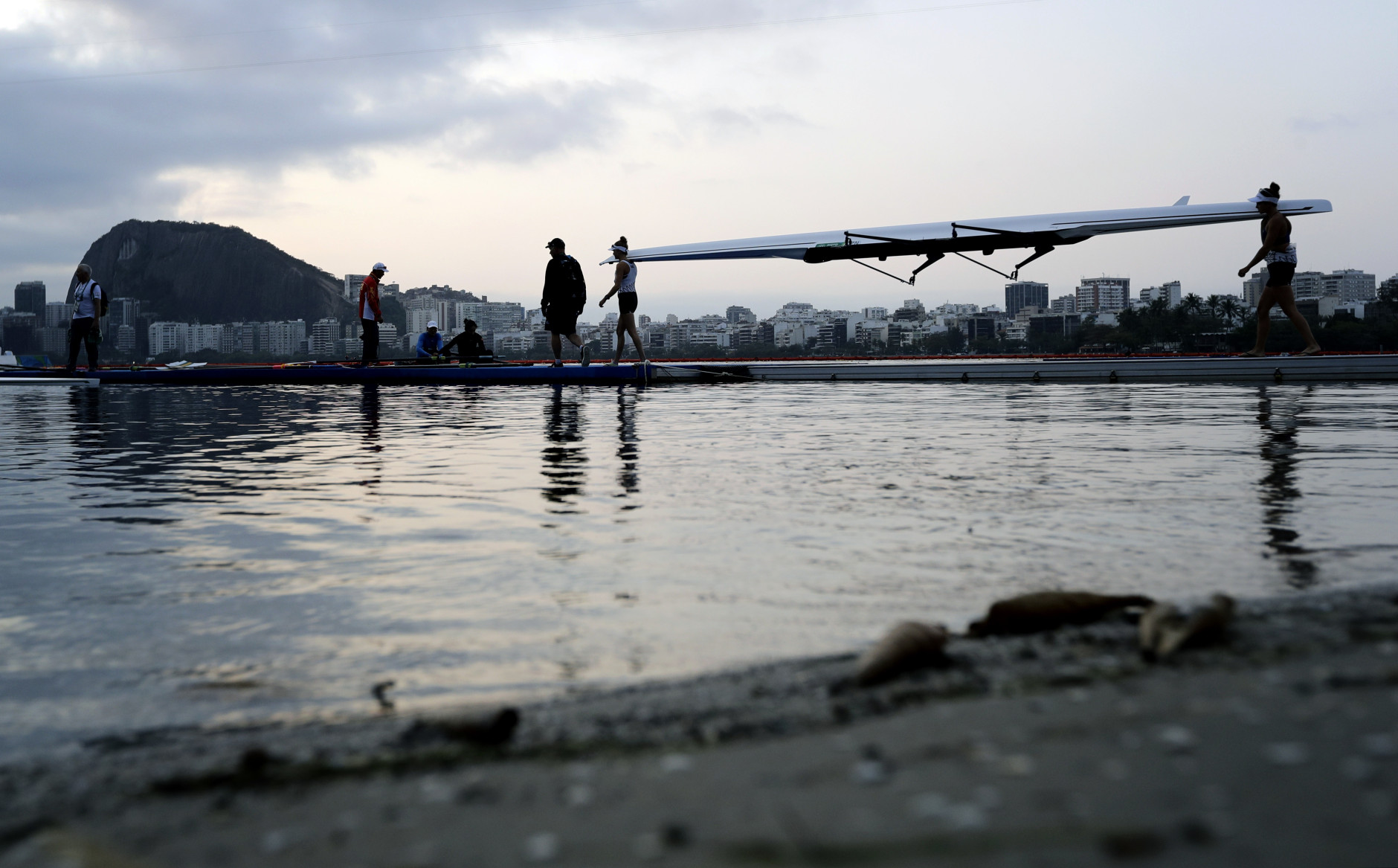 New Zealand rowers prepare to practice prior to competition during the 2016 Summer Olympics in Rio de Janeiro, Brazil, Tuesday, Aug. 9, 2016. (AP Photo/Matt York)