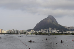 Rowers practice prior to competition during the 2016 Summer Olympics in Rio de Janeiro, Brazil, Tuesday, Aug. 9, 2016. (AP Photo/Luca Bruno)